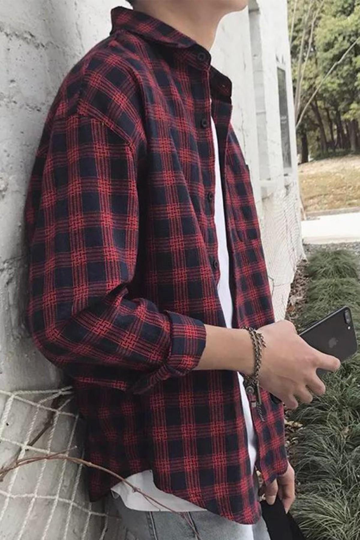 Men's Basic Full Sleeves Plaid Shirt S309