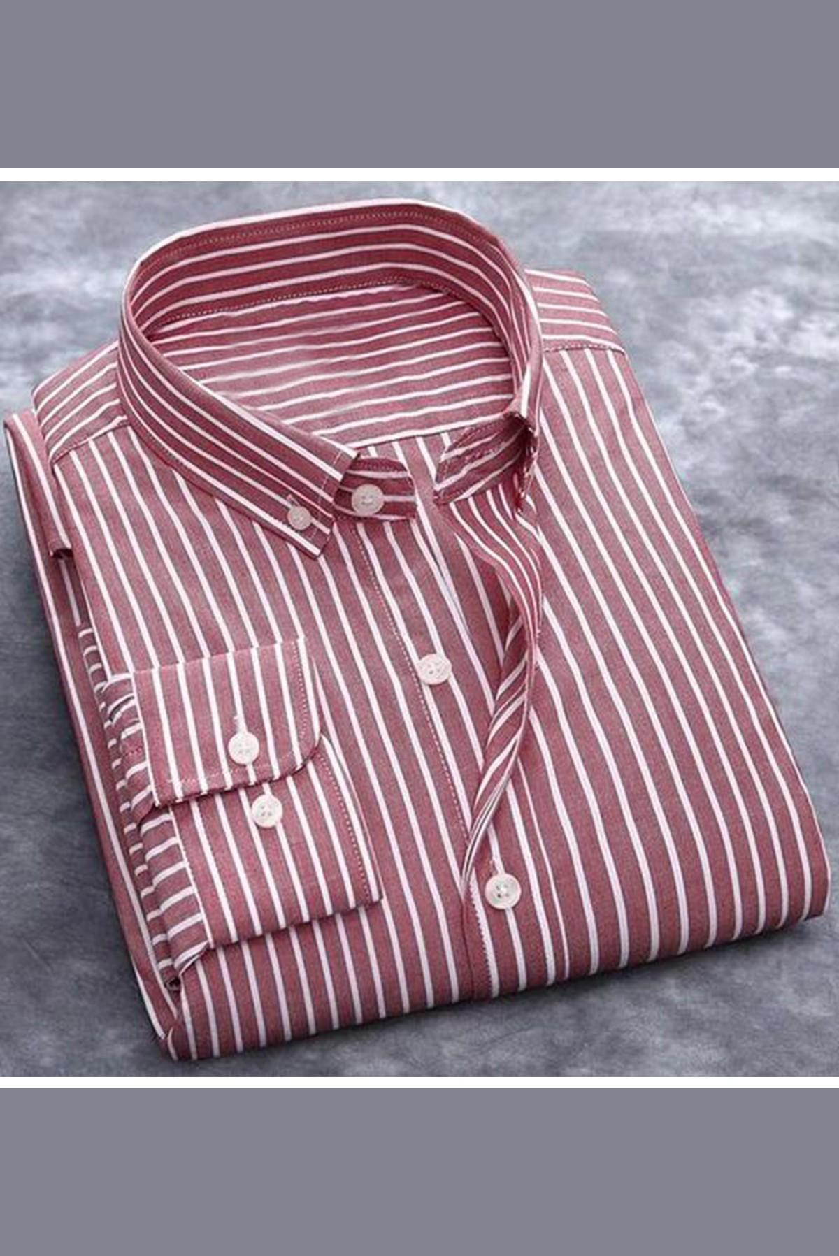 Men's Basic Full Sleeves Striped Shirt S327
