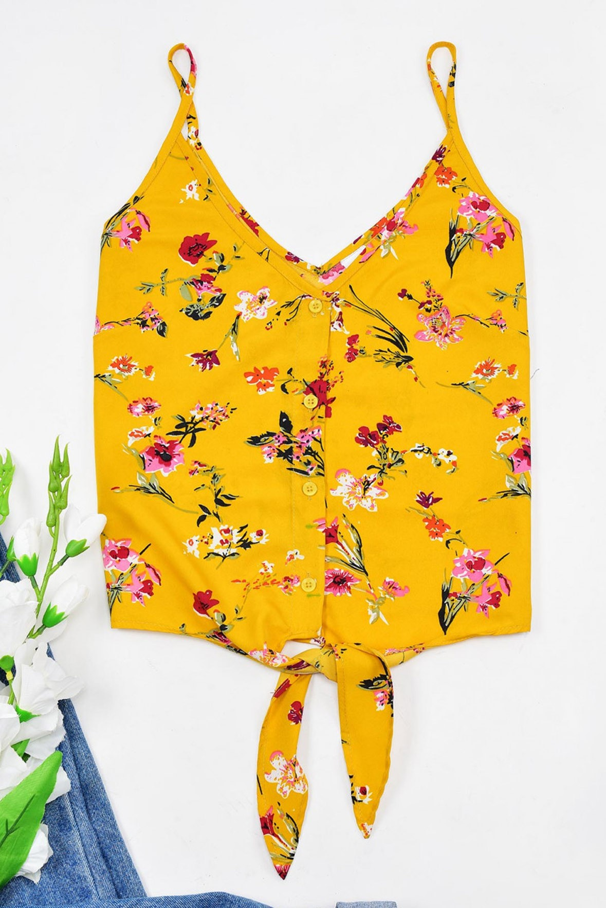 Knotted yellow print top