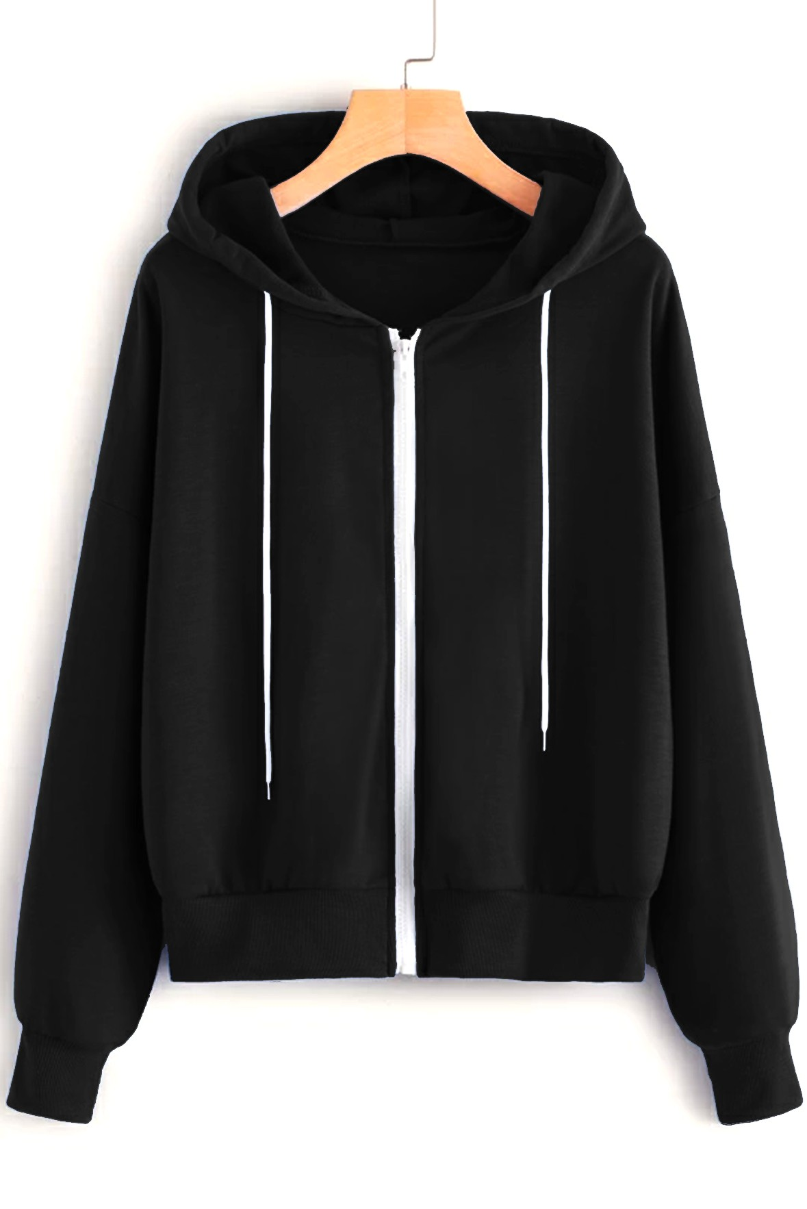Drawstring Front Zip-Up Hooded Sweatshirt Black