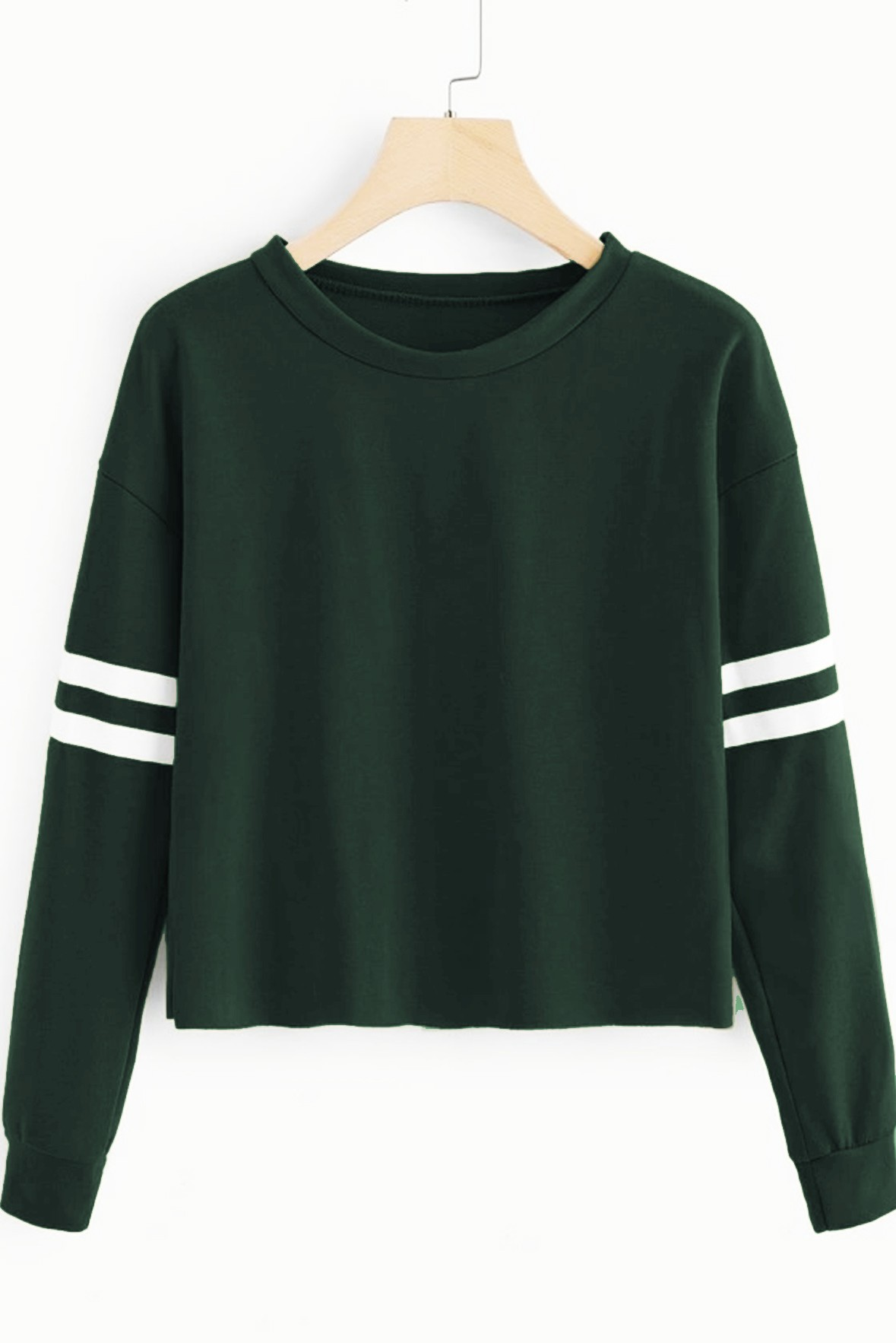 Varsity Striped Sweatshirt Dark Green