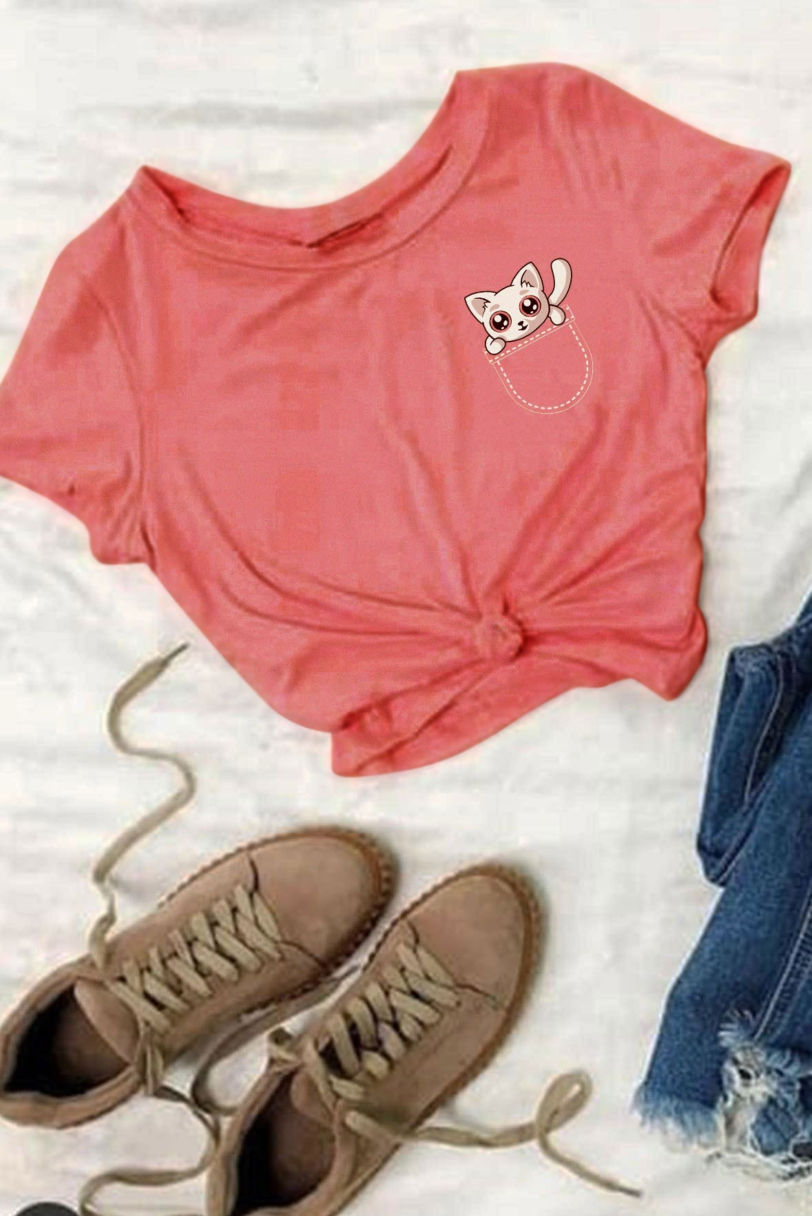 Jeb Mein Billi Boyfriend T-Shirt Peach
