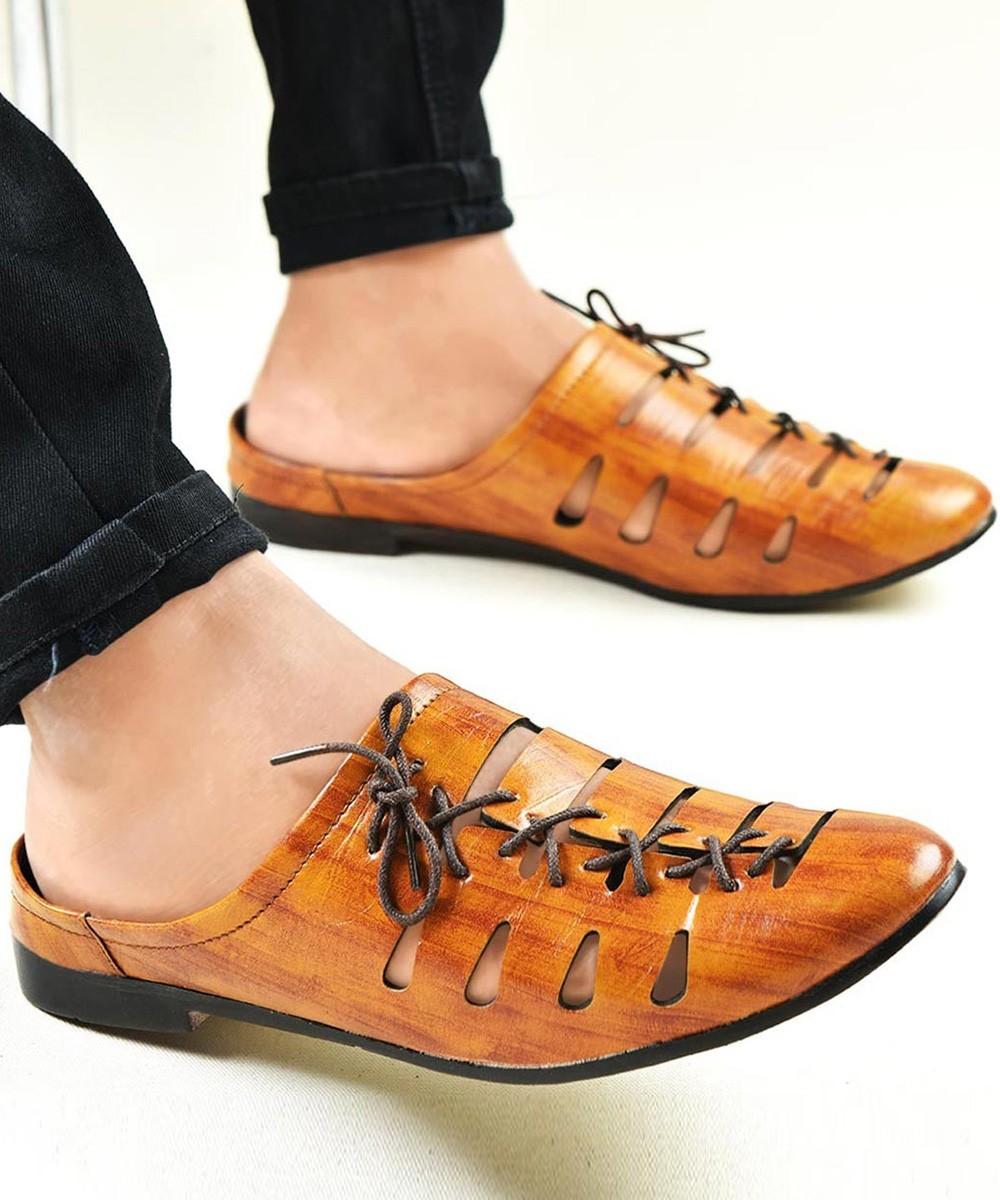 Cutout lace up men's shoes