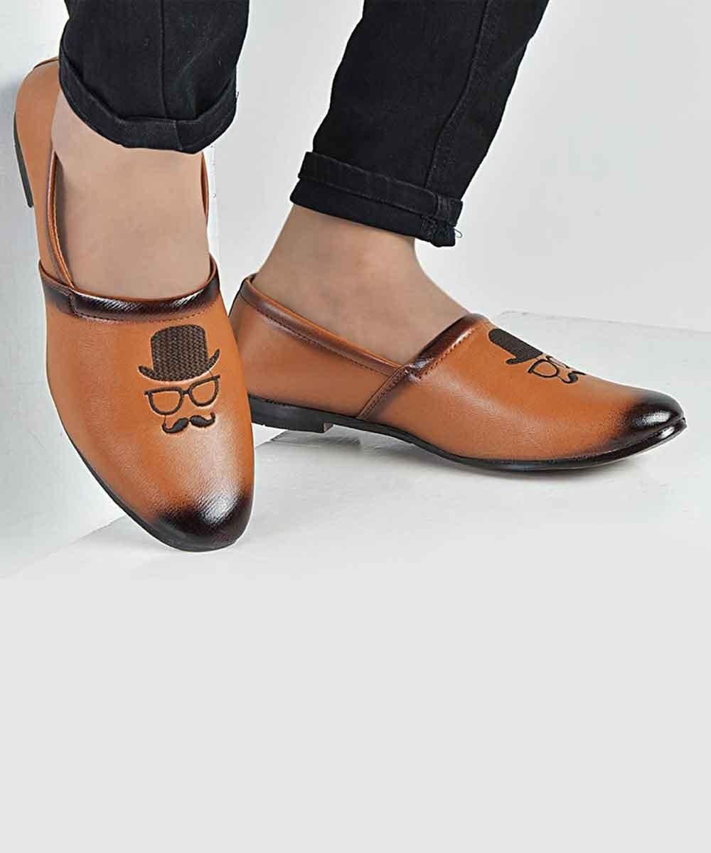Tan moustache shoes