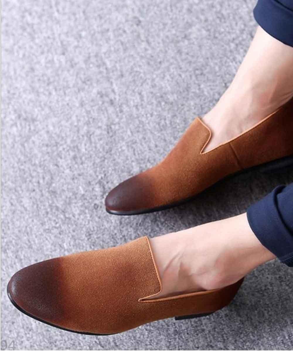 Textured toe slip on mens shoe ( tan )