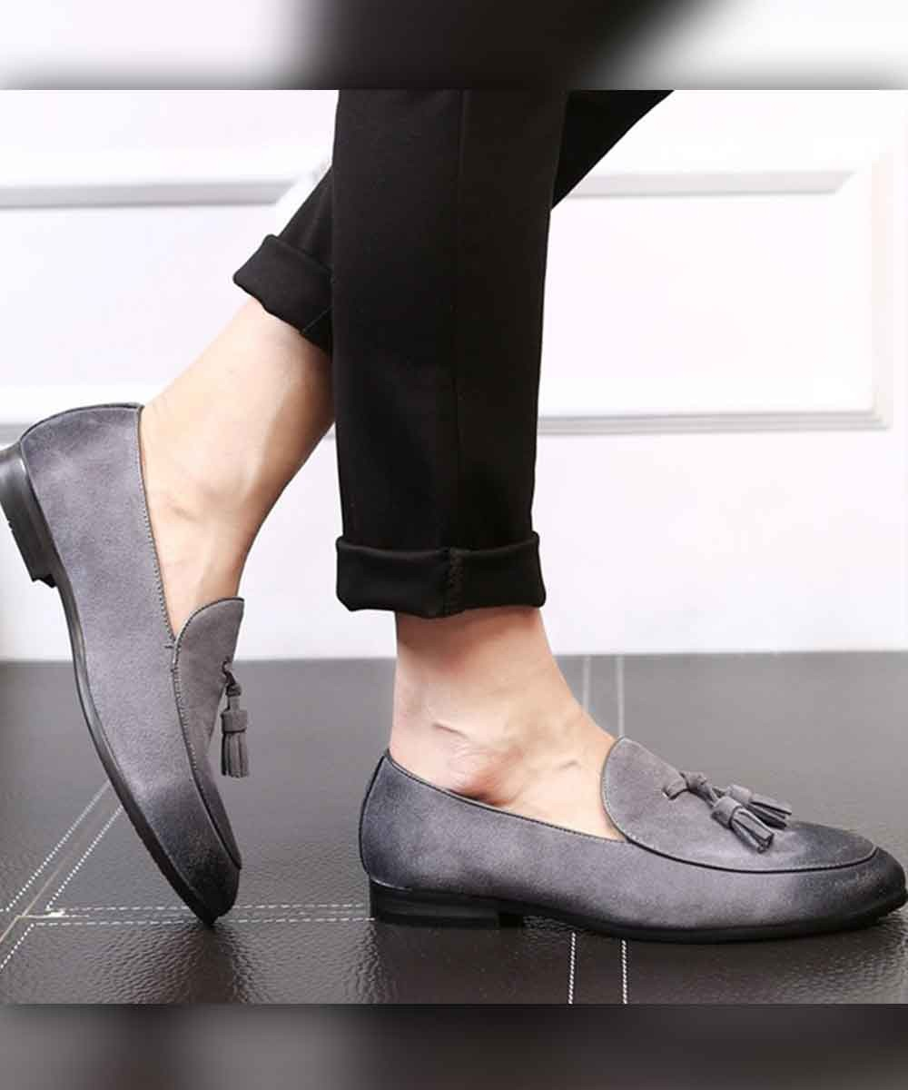 Textured toe slip on mens shoe ( grey )
