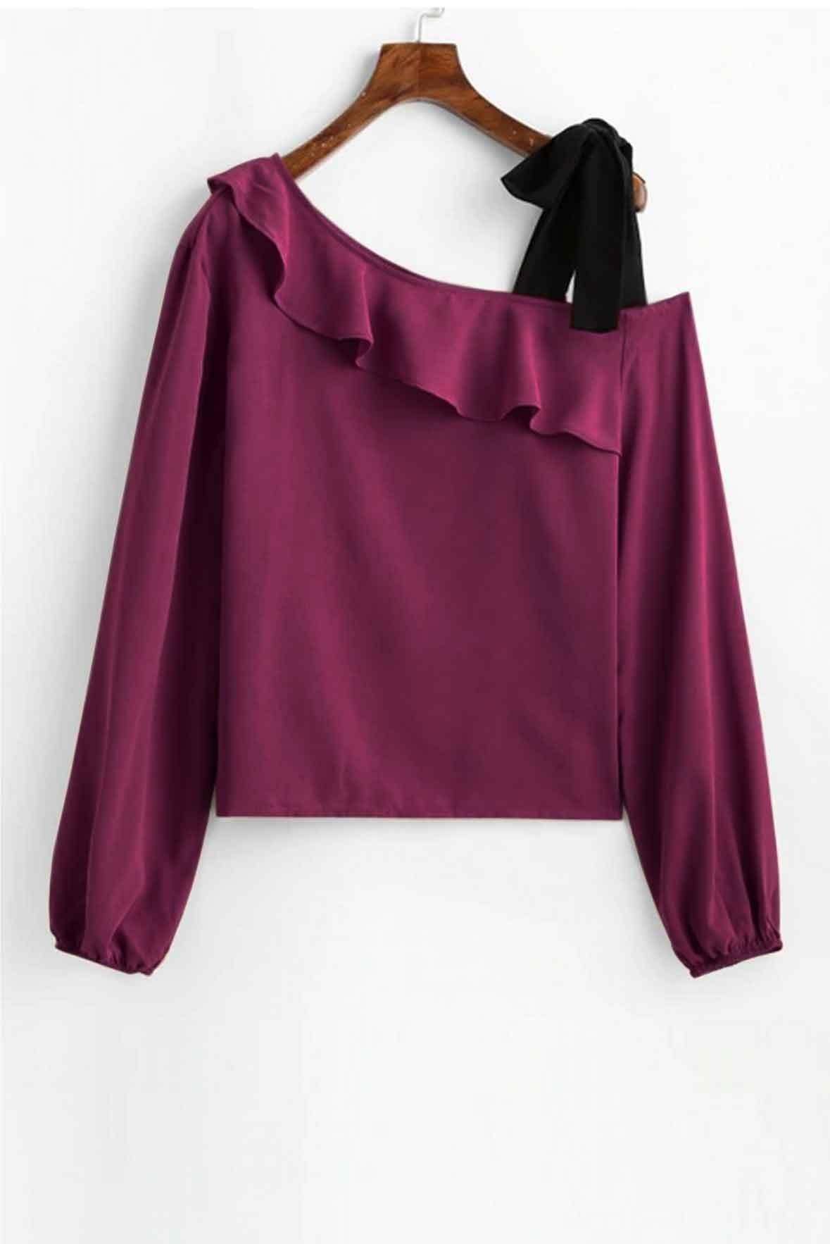 Skew Neck Bowknot Ruffle Top Purple