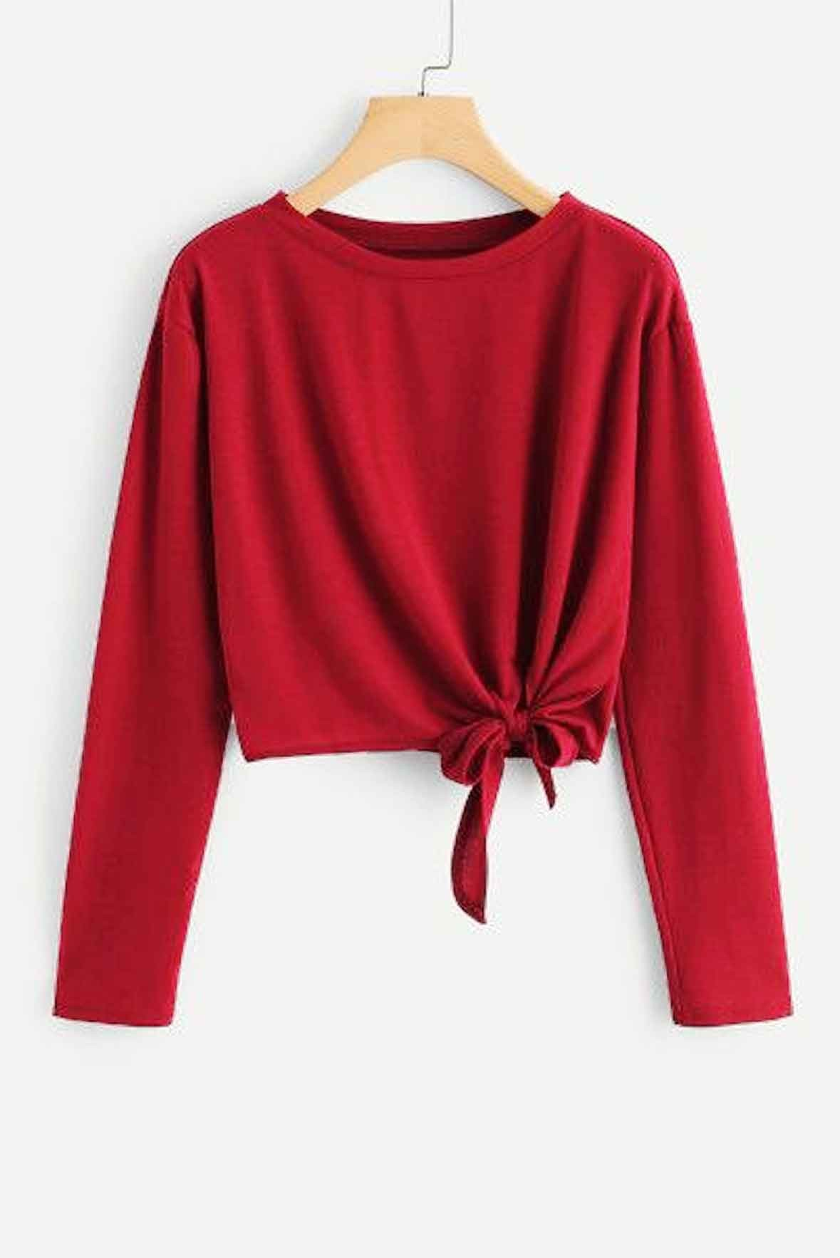 Knot Side Crop Top Red