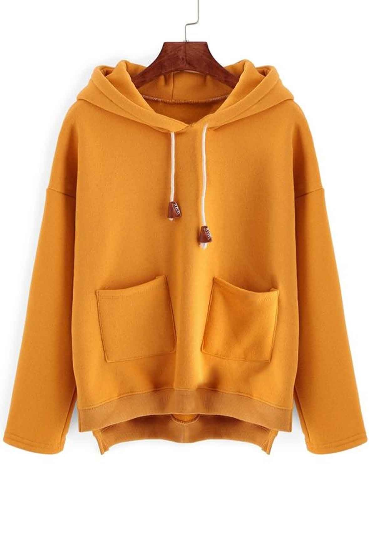 Split Side Sweatshirt With Pockets Mustard