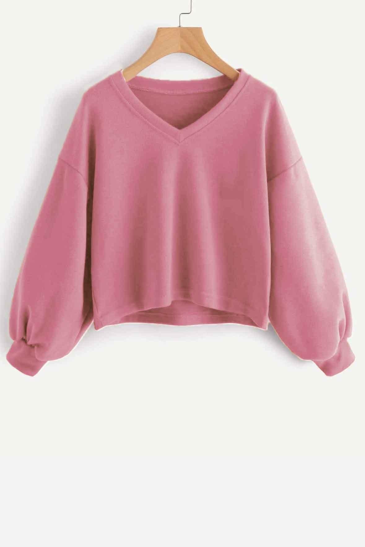 Solid Casual V neck Lantern Sleeve Sweatshirt Pink