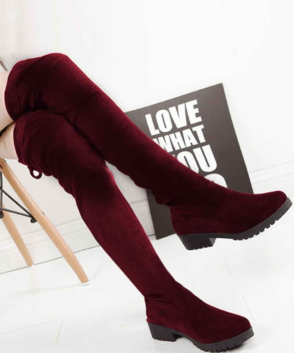Over the Knee Boots Marsala