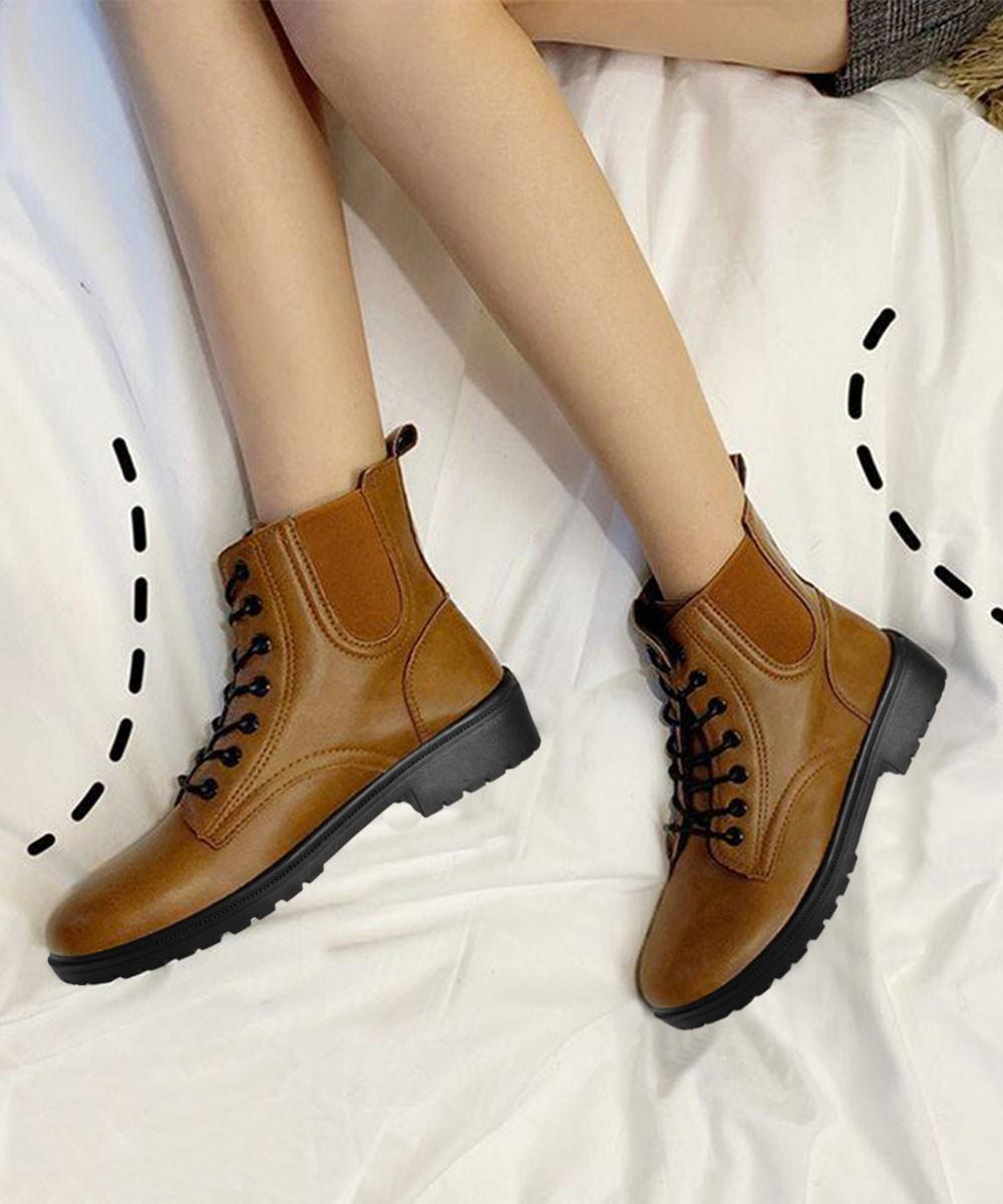 Platform lace up short boots