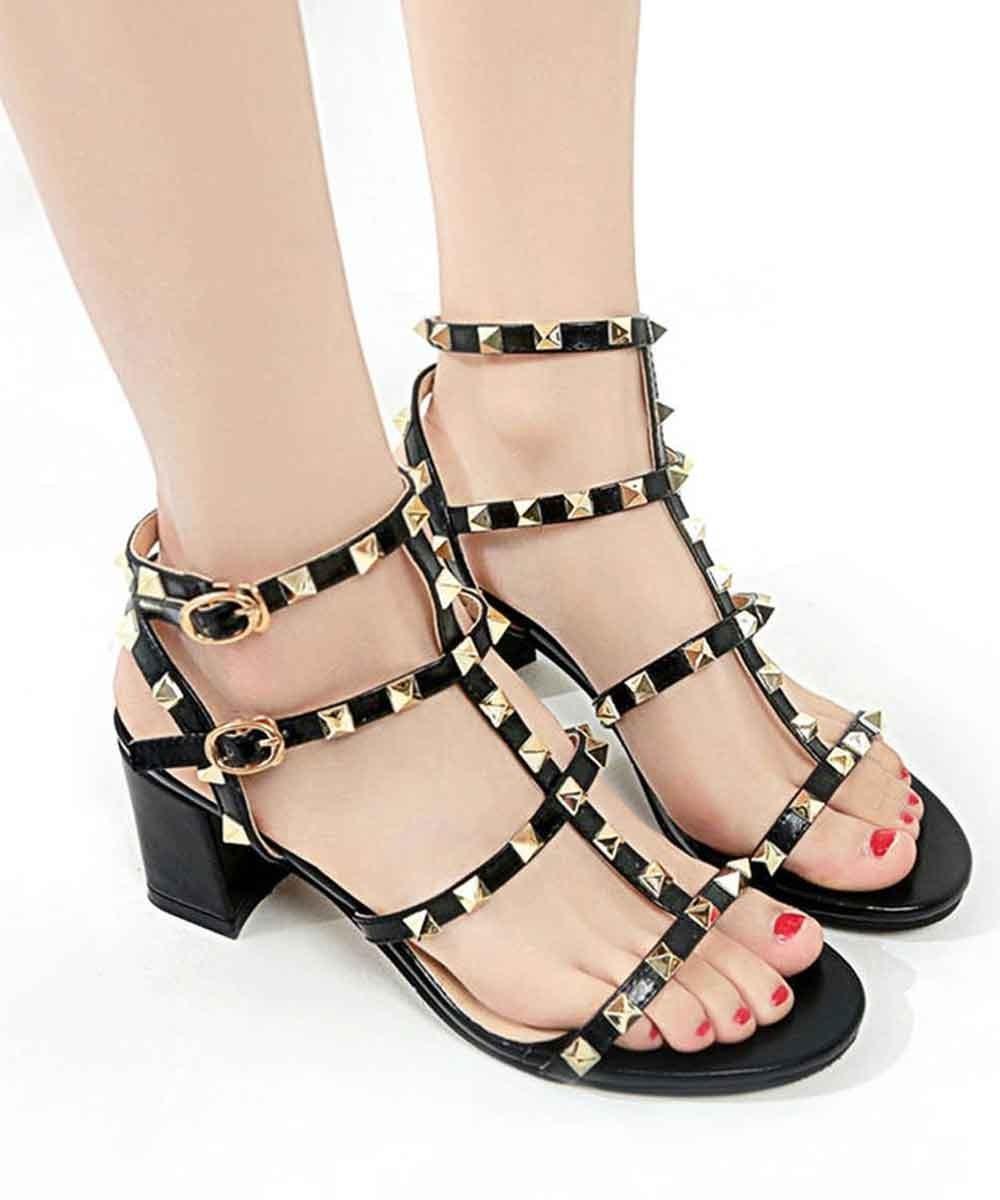 Studded Block Heel Black