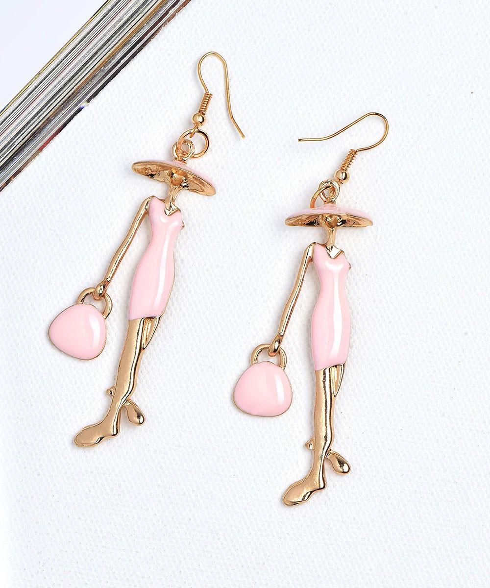 Queen lady earrings pink