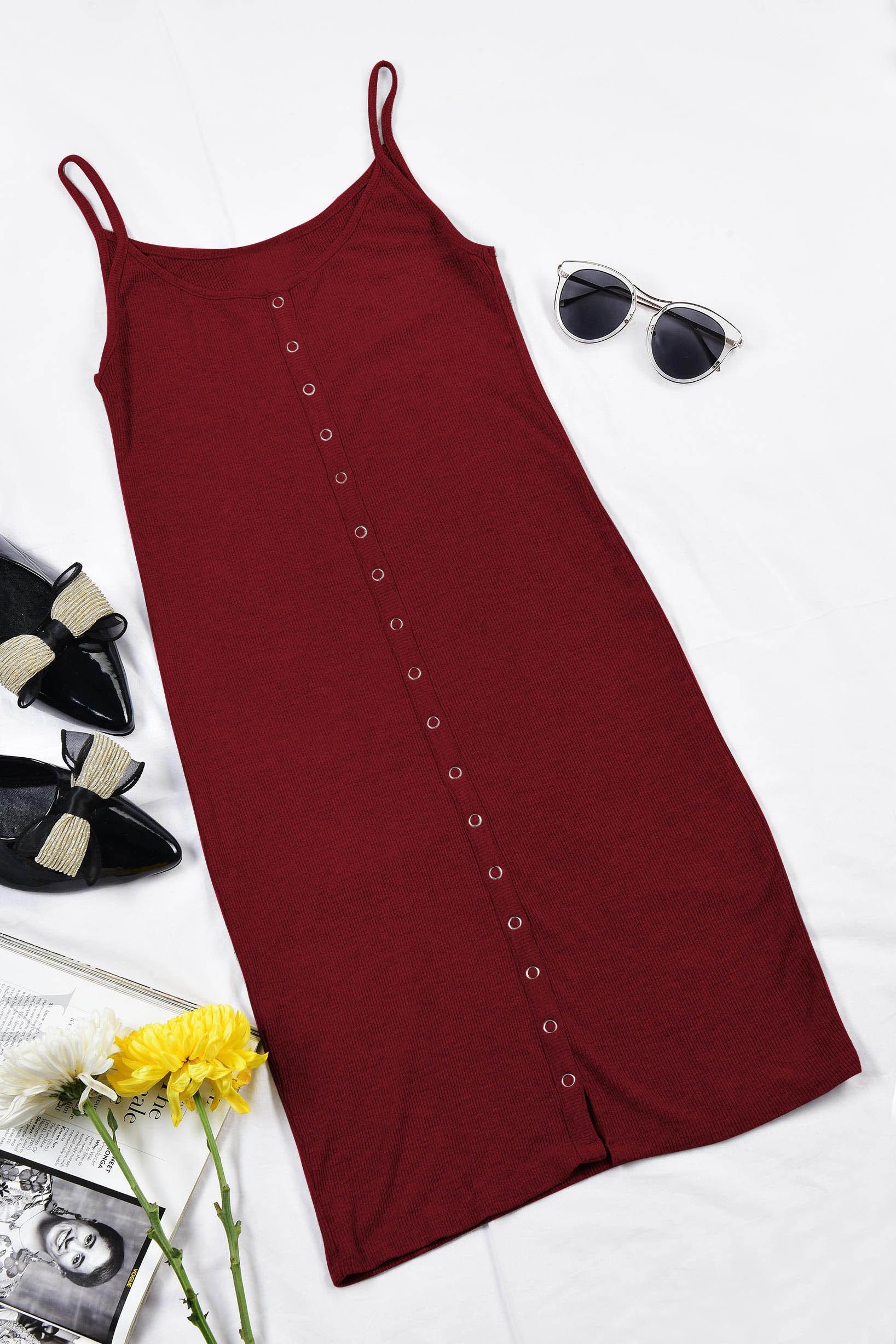 Rib body fit dress marsala