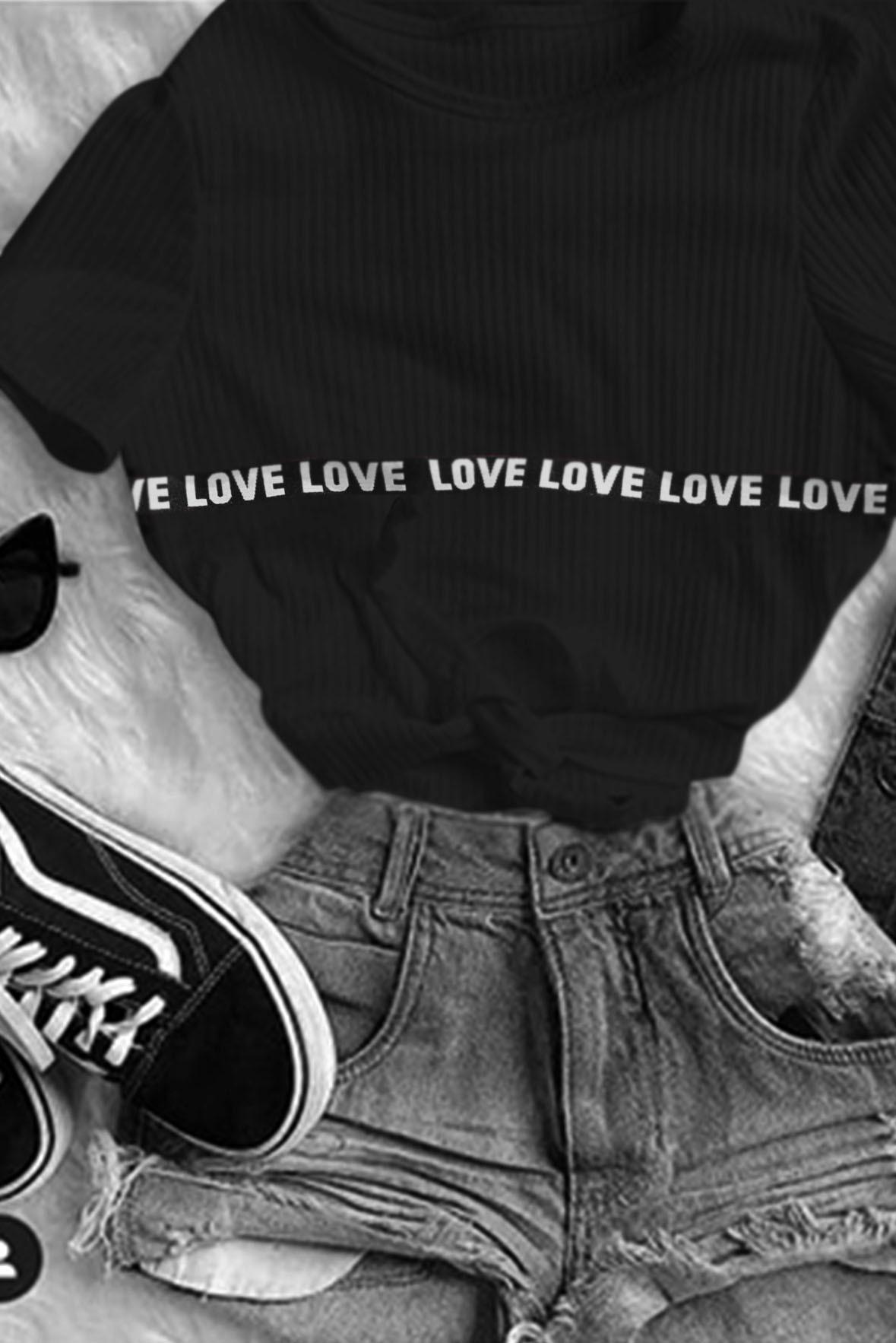Love stripe rib top Black