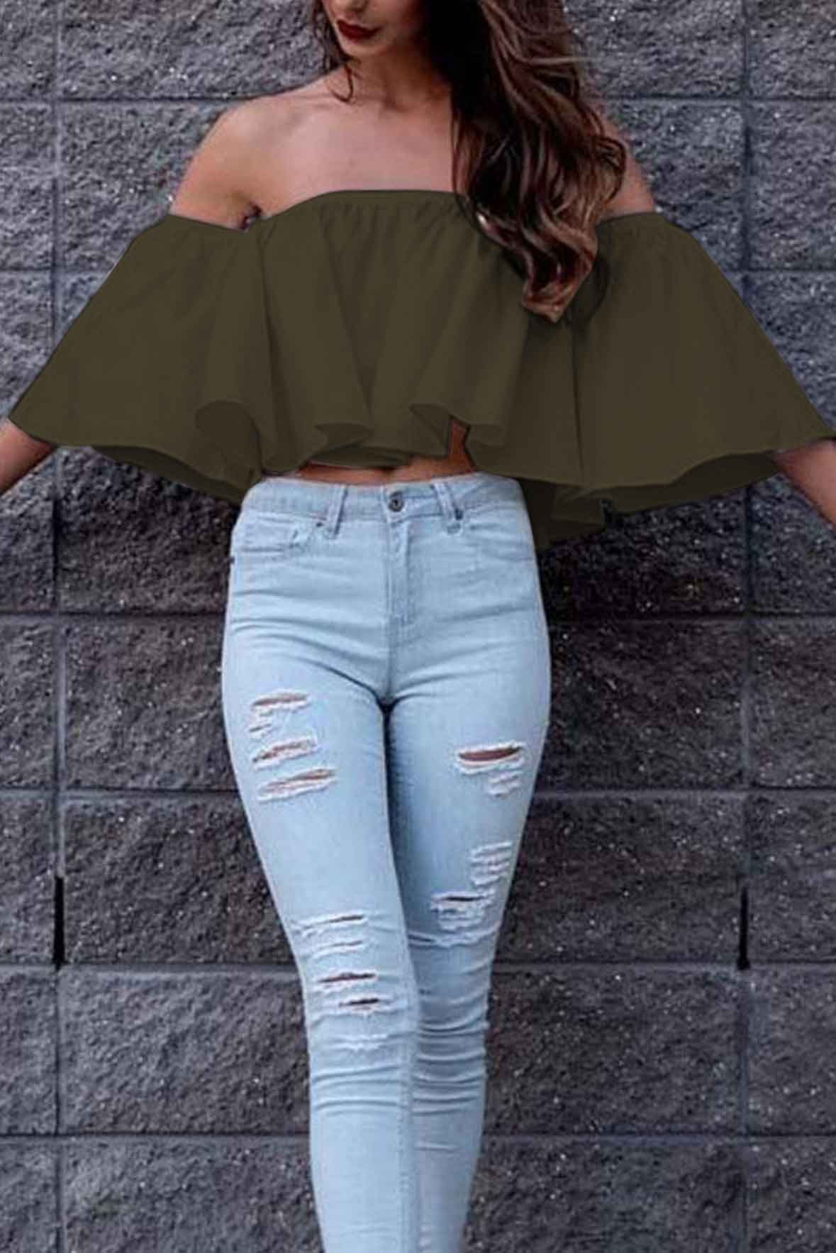Off The Shoulder Ruffled Top Army Green