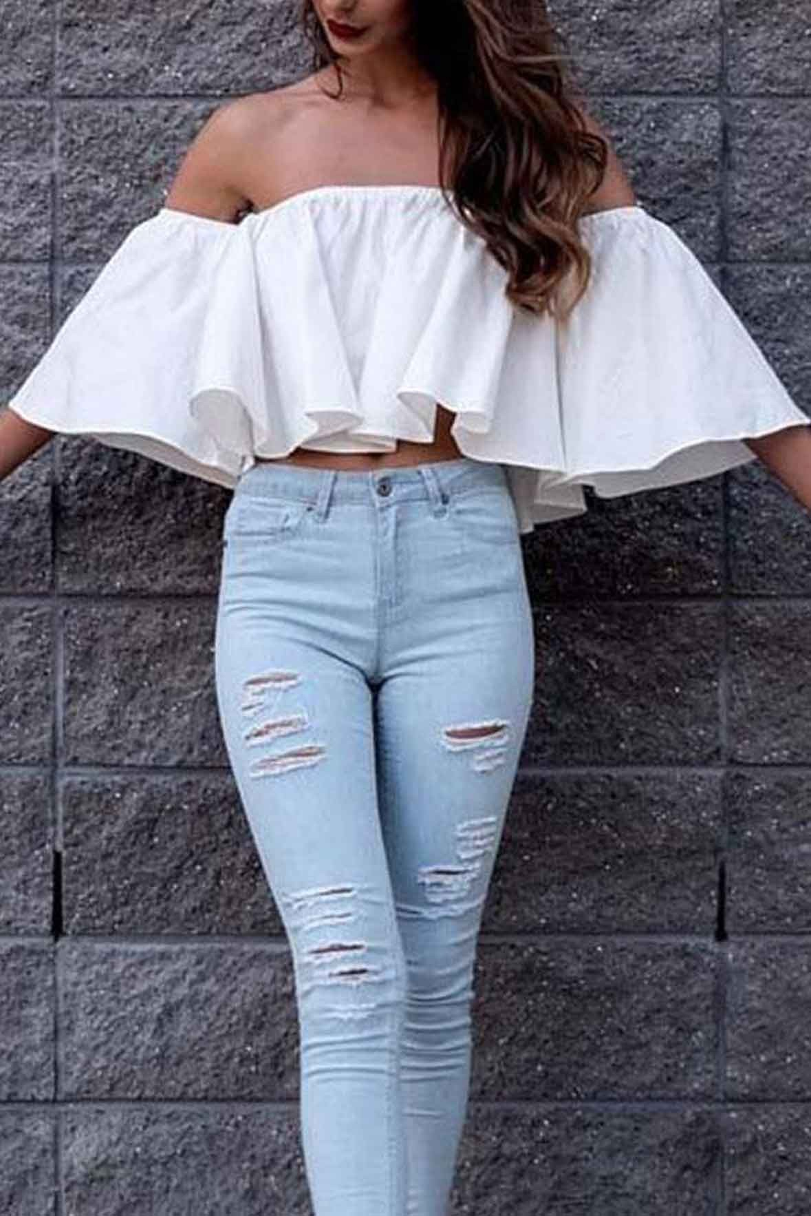 Off The Shoulder Ruffled Top White