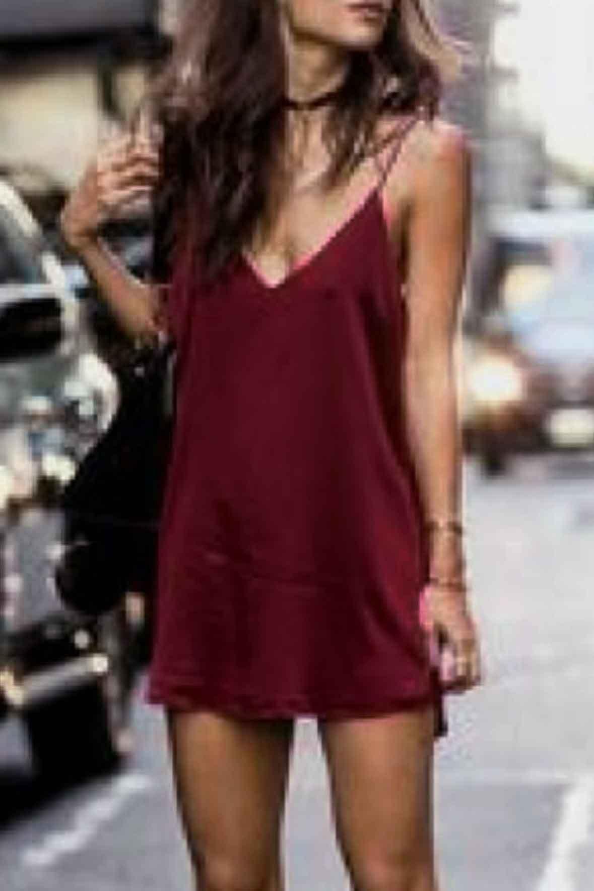 Marsala sleeveless short dress