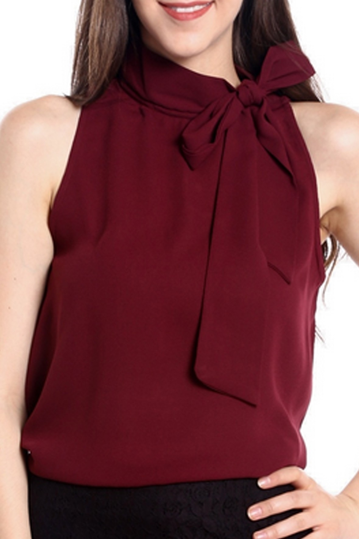 Marsala sleeveless tie top