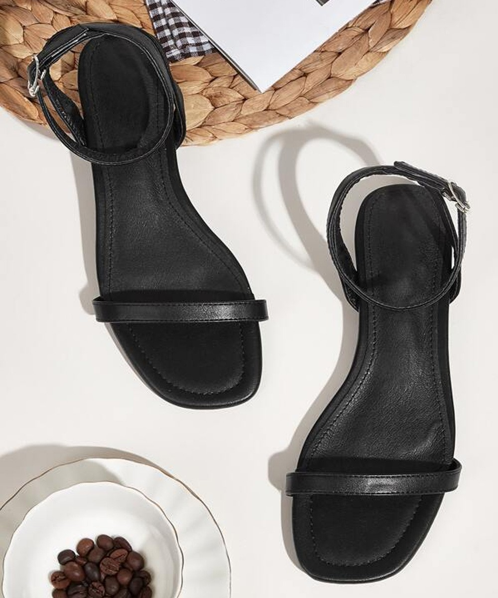 Open Toe Ankle Strap Flats