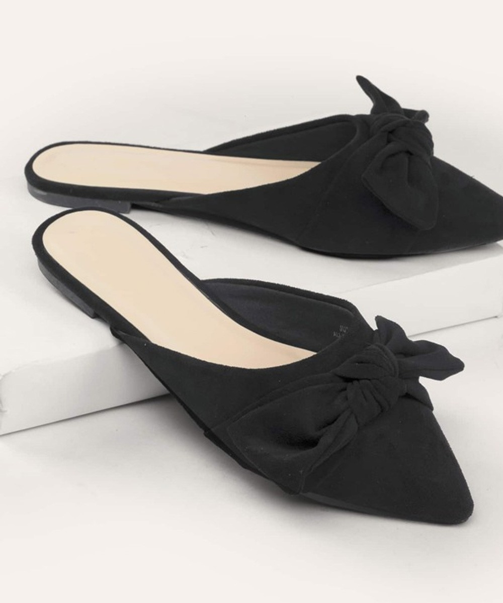 Pointed Toe Bow Accent Flat Mules