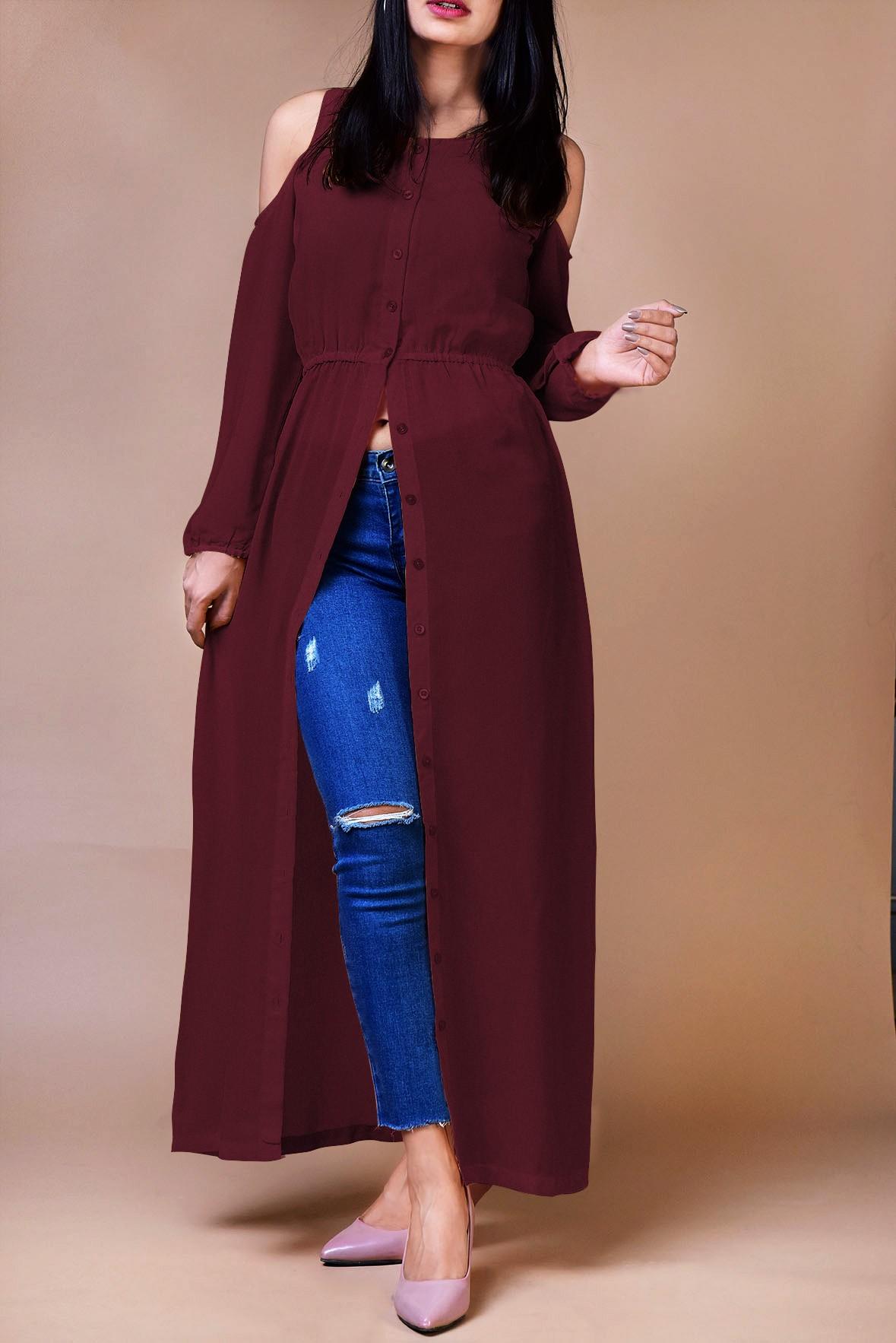 Wine color cold shoulder long tunic