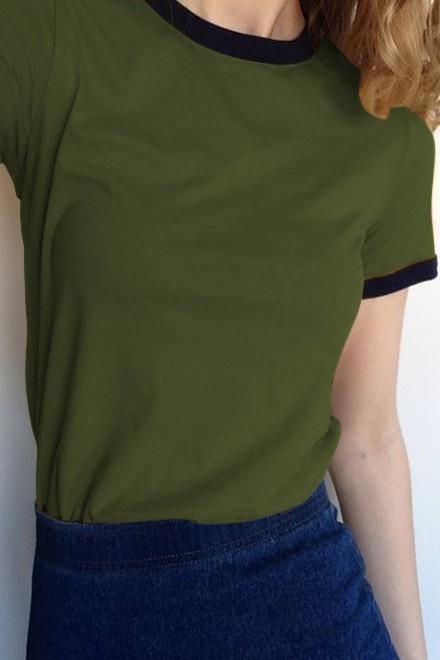 Black border t-shirt green