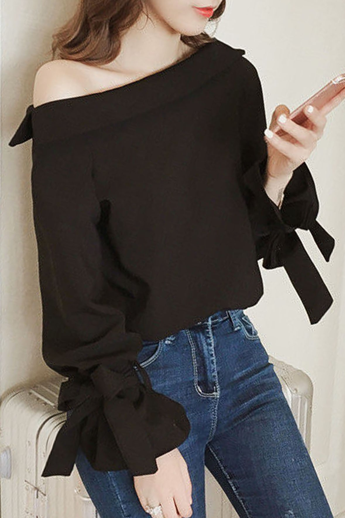 Off-Shoulder Long Sleeve Top