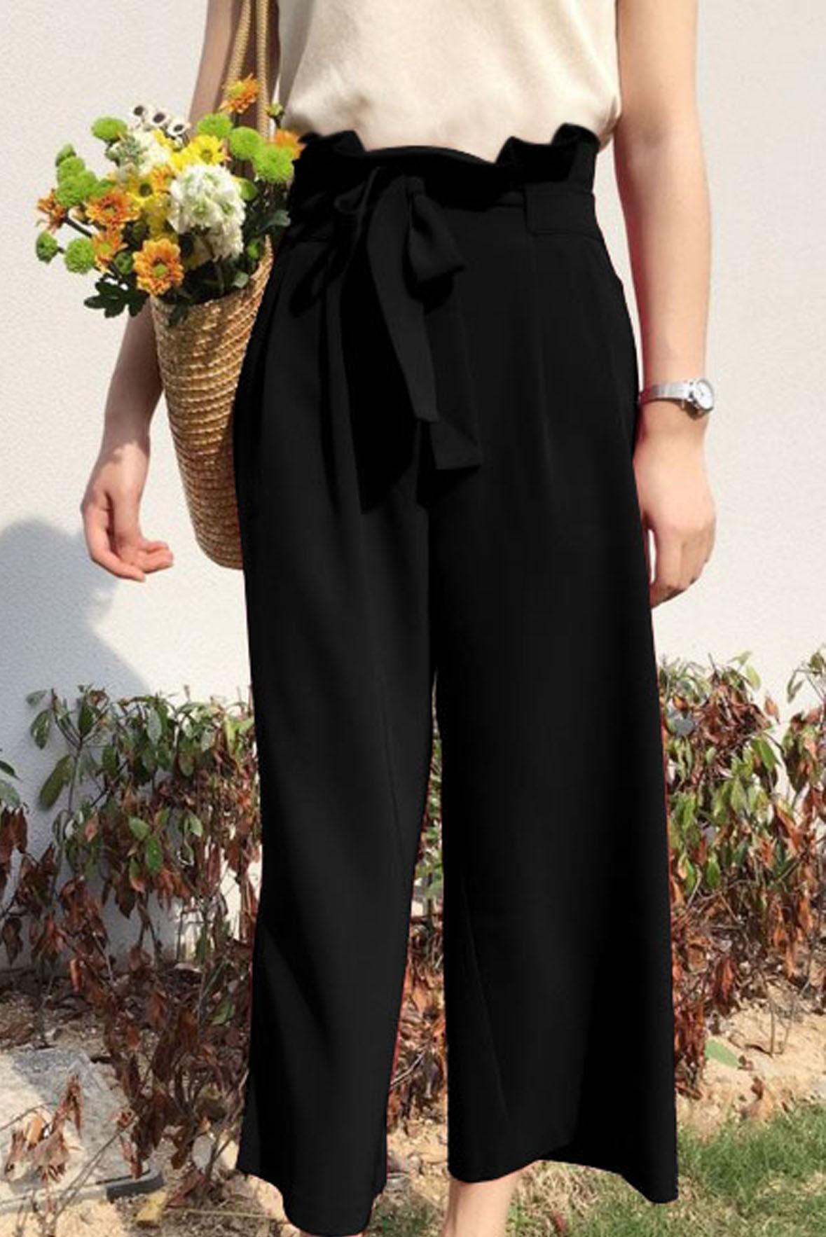 Tie Waist Wide Leg Vintage Black Pants