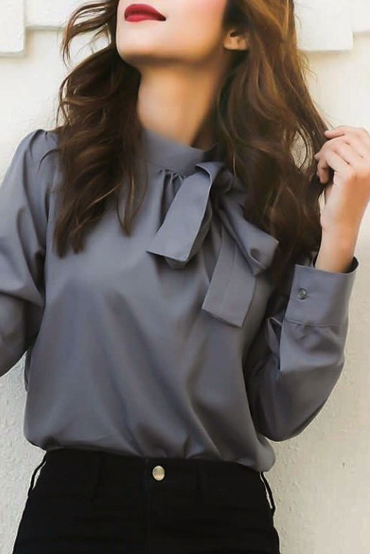 Grey bowtie top