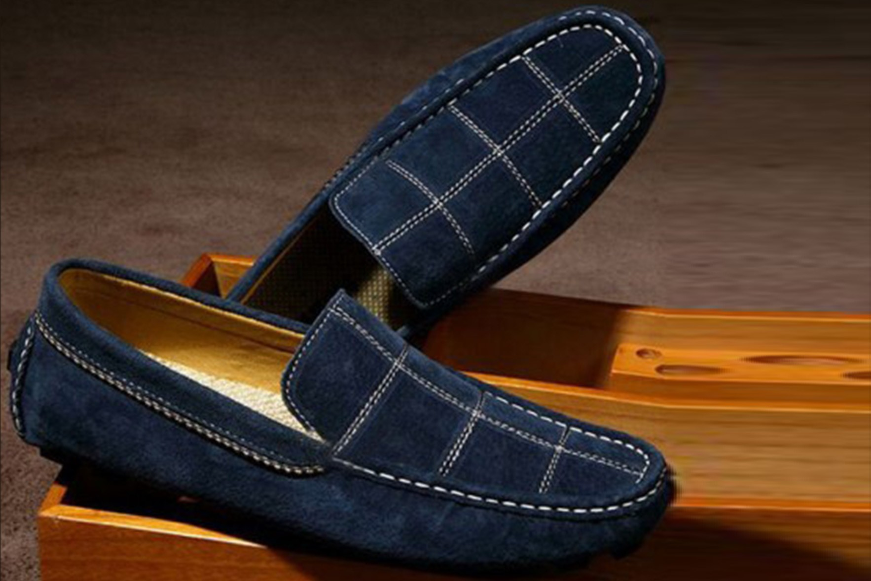 Check suede loafer