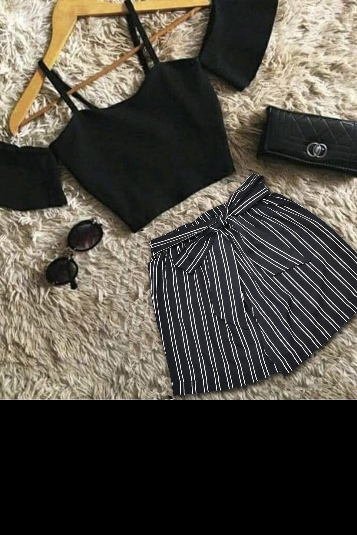Set- Cold shoulder top with stripeline shorts