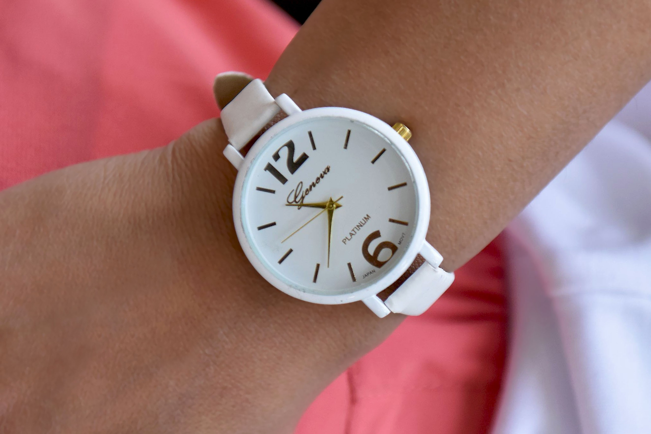 Womens - Faux Leather Analog White Watch