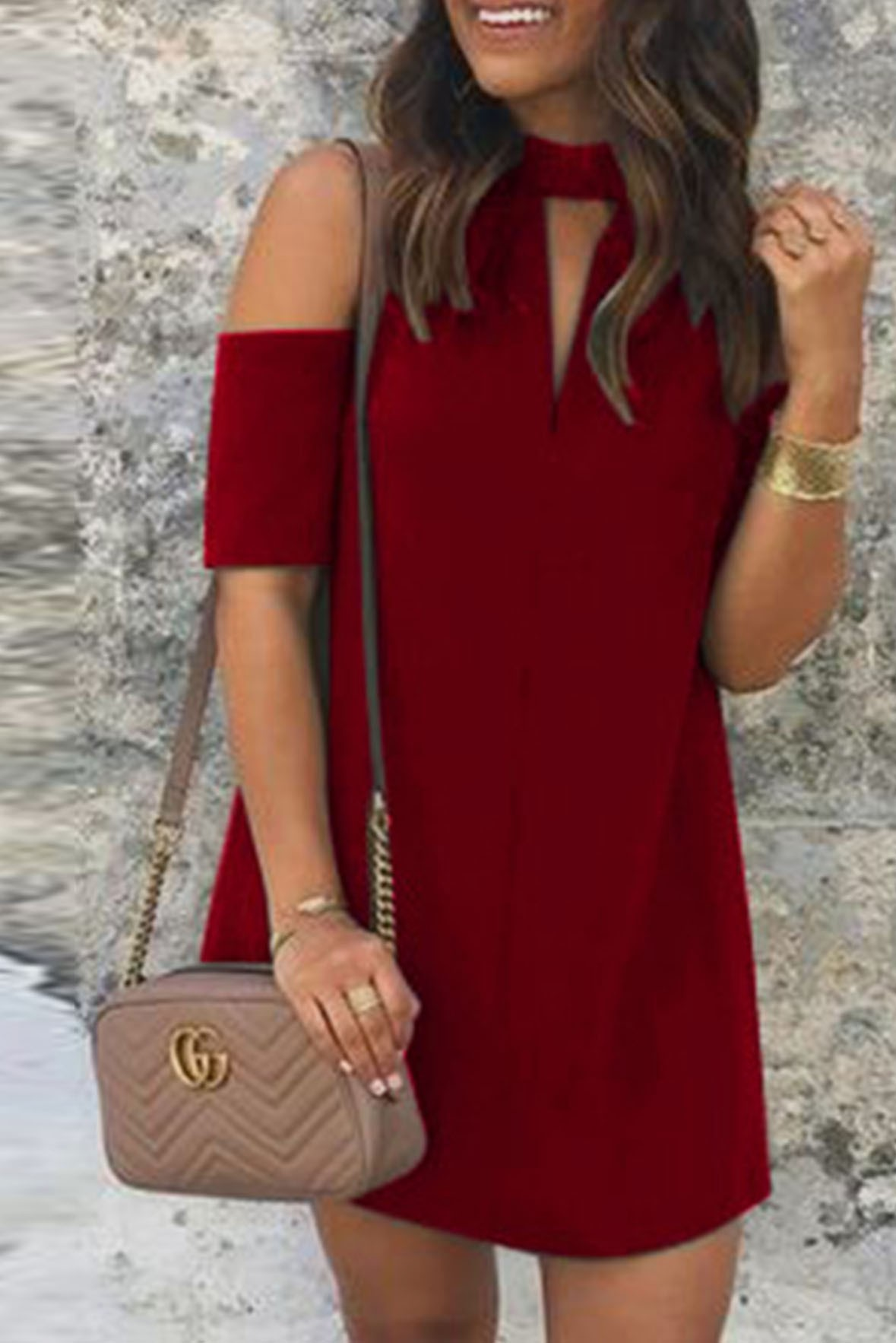 Crepe Cold Shoulder Dress Marsala