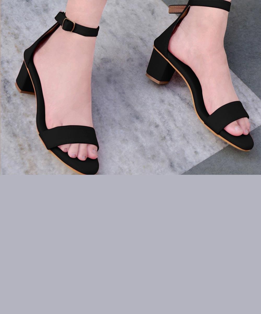 Black hot block heels