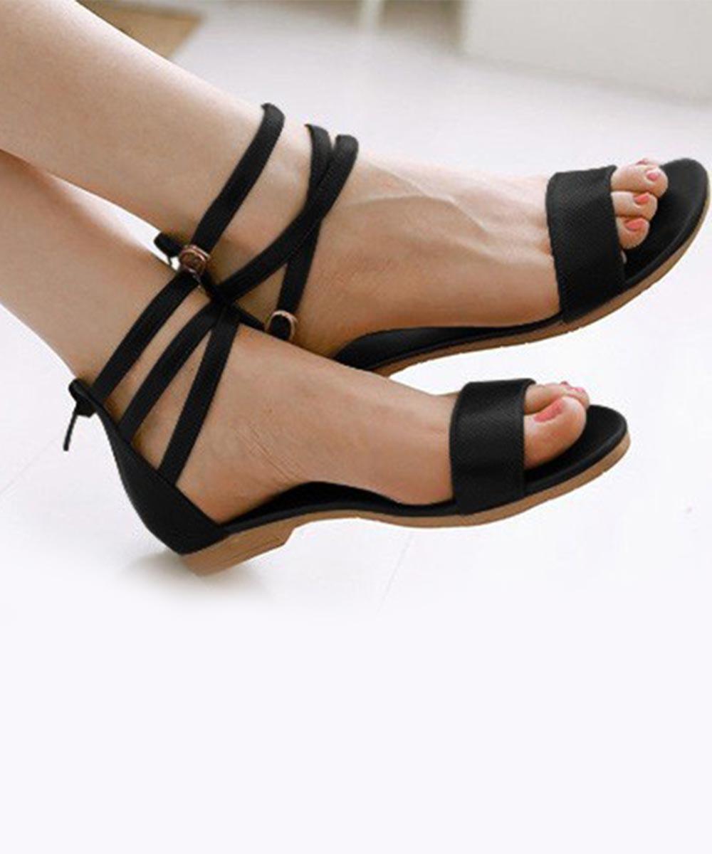 Sweetest Ankle Strap Flat Black