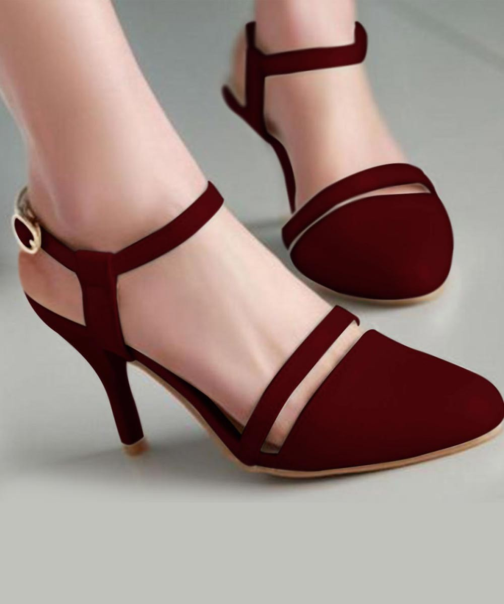 Rock On Ankle Strap Heels Marsala