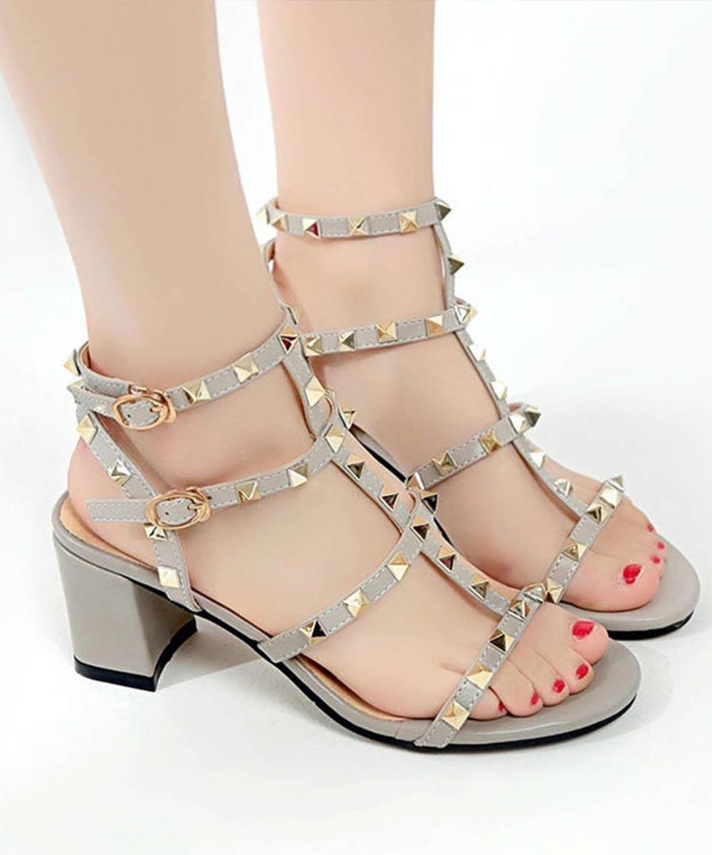 Studded Block Heel Grey