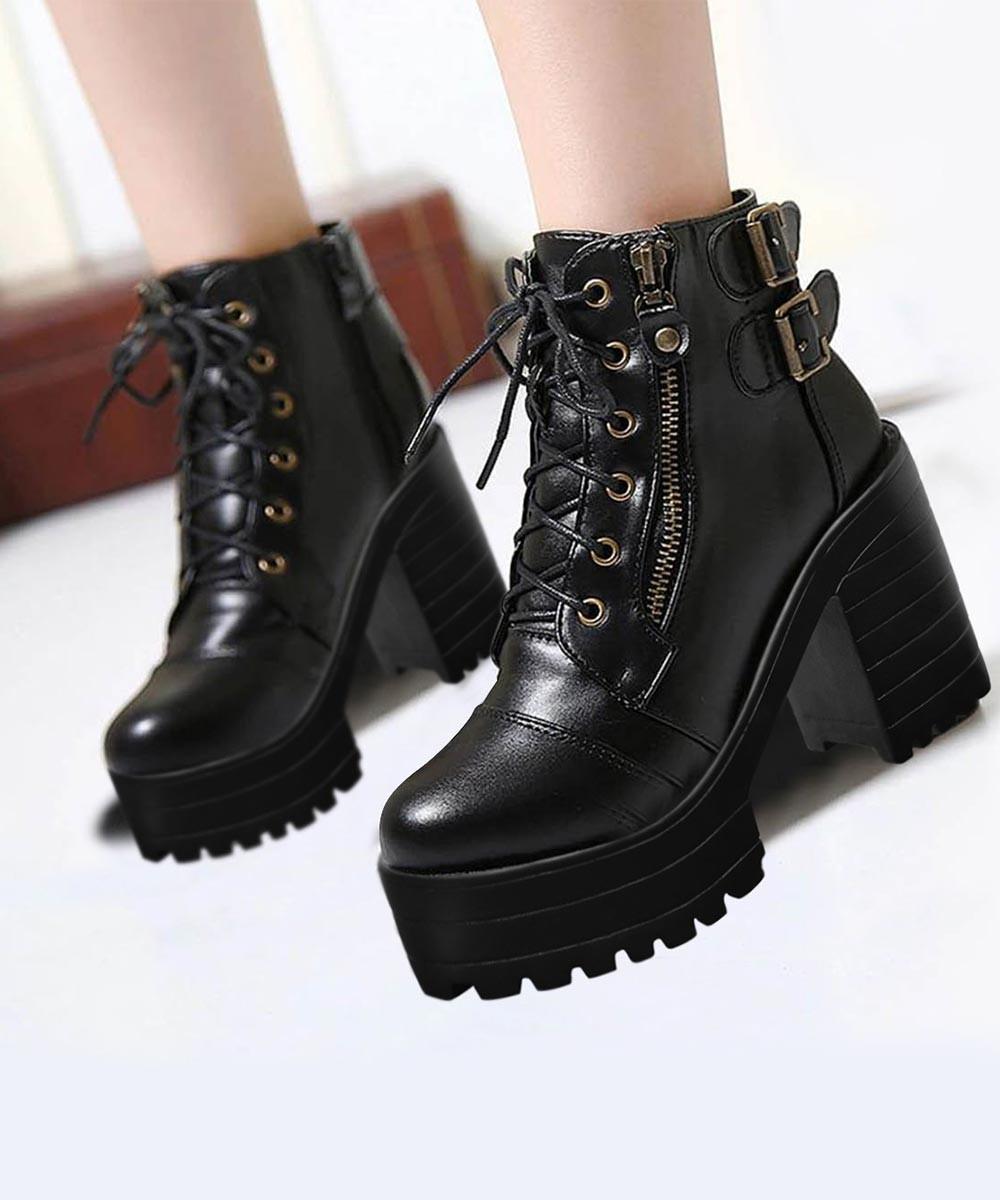 Women Zipper High Heels Lace Up Boots
