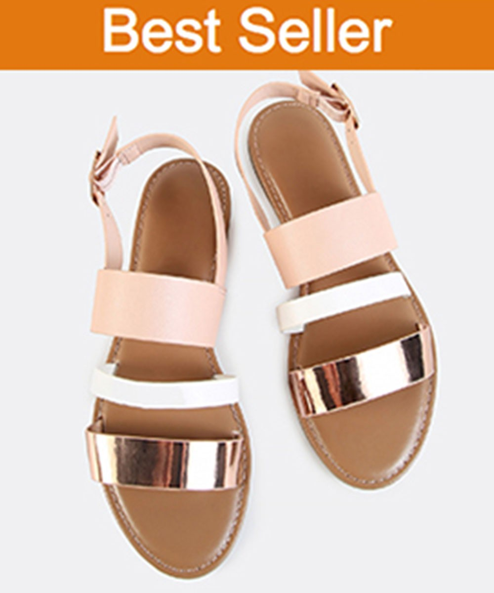 Sling Back Triple Band Flats