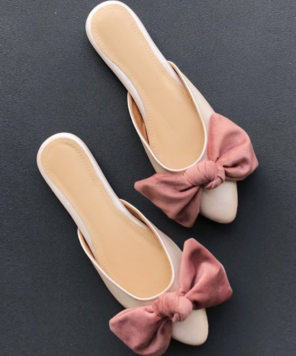 Wake me to this dusty pink bow flats cream