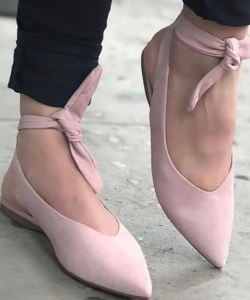 Front Tie Pointed Flat Pink
