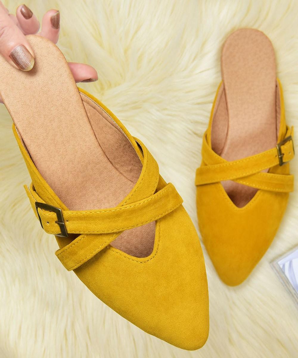 Mustard tone studded mules