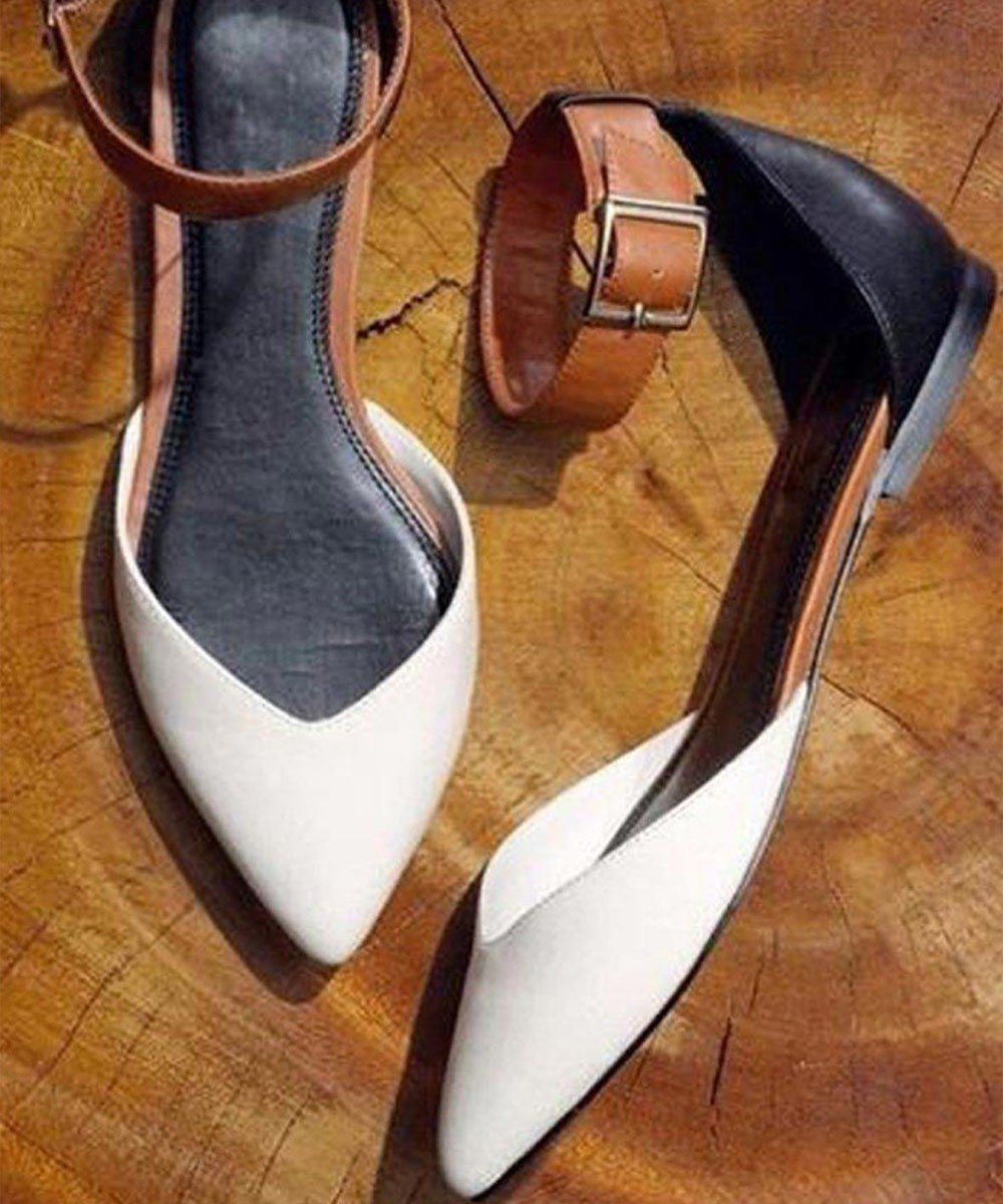 Color block ankle strap mules White