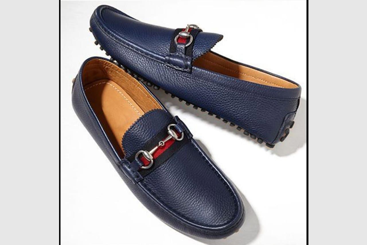 Blue Textured Bit Loafers