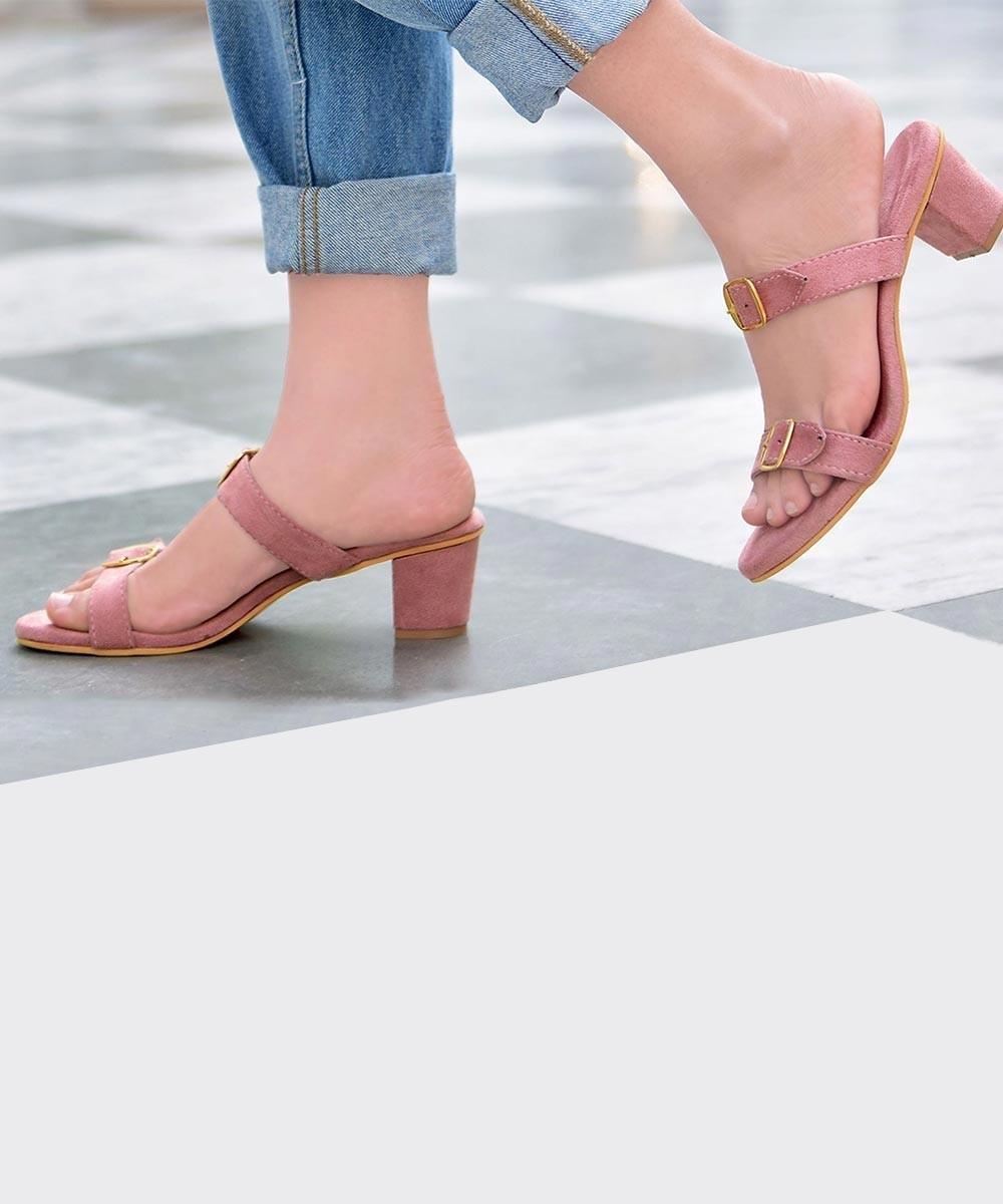 Blush pink buckle up heels
