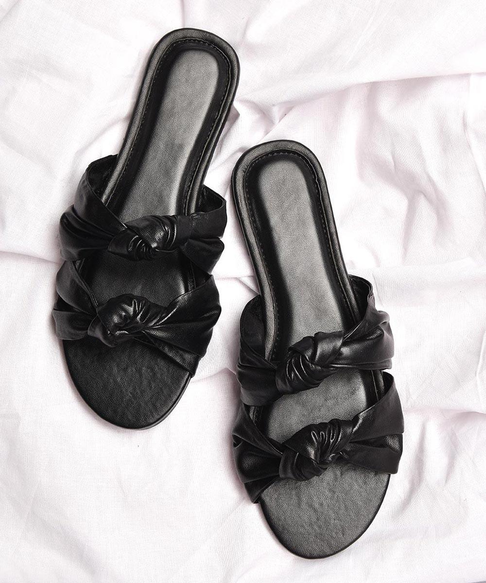 Bow tie black flats