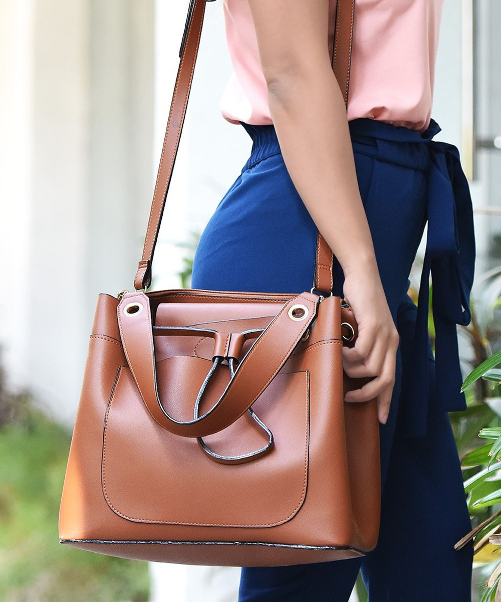 Make a statement tan handbag
