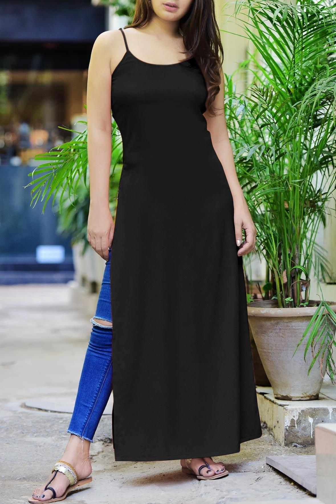 Black sleeveless slit kurti